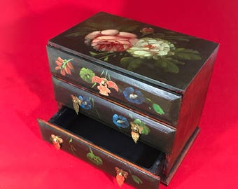 HandPainted Wood, Apothecary Chest, Jewelry Box, Storage, Jewelry Organizer, Teabag Organizer, Storage Box, Cabinet, Floral Motifs, 3Drawers