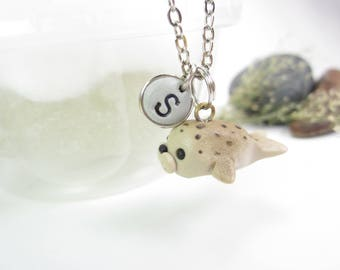 Harbor Seal necklace, Initial necklace, personalized necklace, Harbor seal jewelry, cute unique gift, letter necklace, seal gift cute animal