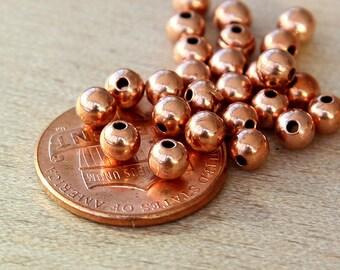 Genuine Copper Round Seamed Beads, 3mm - 100 pcs - eCRS03C-3