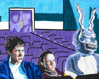 Donnie Darko movie drawing frank the bunny in movie theater creepy colored pencil print Jake Gyllenhaal  cult classic