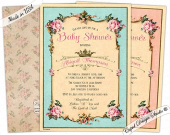 Elegant Floral baby shower invitation/vintage baby shower invitations/Turquoise/Gold/Pink/Digital printable or professionally printed.