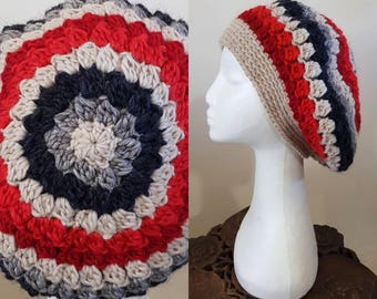 THE VINTAGE TAM Handmade 1940s Landgirl Boho Alpaca Wool Blend Crochet Knit Beret Hat Cream Grey Red