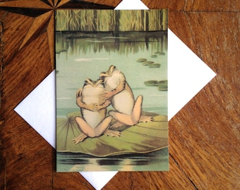 Lovely Vintage Frog Greeting Card Repro.
