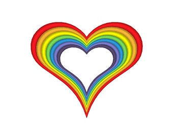 Rainbow Heart Embroidery Machine Design **11 Sizes!!!**