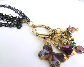 Bohemian Butterfly Charm Necklace, Multi Chain Pendant Necklace, Purple and Black Beads, Crystal Bead Necklace, Costume Jewelry, darla dietz