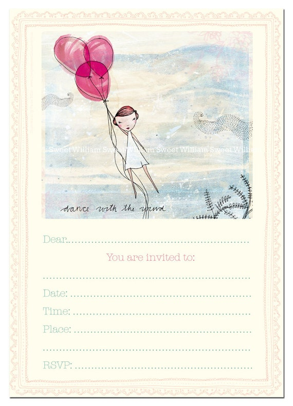 Party Invitation instant printable download fill in invitation Pink balloons, girls, tweens, shower, baby, dancing with the wind