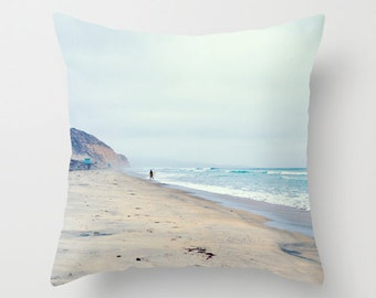 Surfer Pillow Beach Decor Throw Pillow, Surf Pillow, San Diego Torrey Pines Ocean Decor Pillow Cover