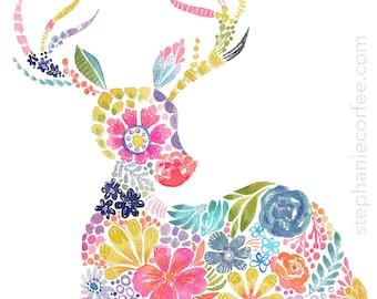 Floral SIlhouette - DEER - PRINT