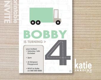 kids invitation - boys invitation - trucks invitation - childrens invitation -  printable invitation