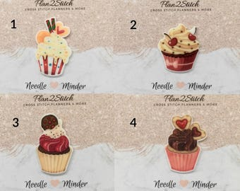 Scrumptious Cupcakes (3/5) Needleminder/Magnet for Cross Stitch/Embroidery