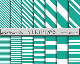 Teal and white striped digital papers Green background Stripes paper pack Stripe patterns Teal white Geometry background for scrapbooking.