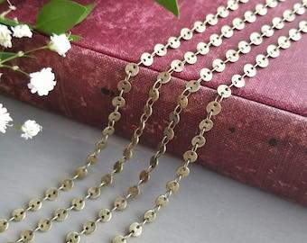 4mm Round Disc Chain - Antique Brass finish - Bulk Chain, 1 feet, 3 feet, 10 feet, or 25 feet - Sequin Chain, Soldered Links - Nickel Free