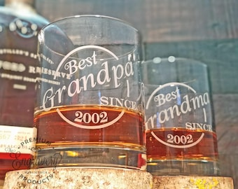 Best Grandpa Ever Glass, Best Grandma Ever Gift, Personalized Whiskey Glasses, Custom Engraved Glasses, Scotch Glass, Rocks Glasses, Whisky