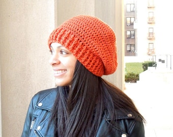 Crochet Slouchy Hat, Women, Men, Teen, Tam, Pumpkin, Orange, Ready To Ship,