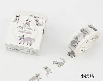 Raccoons - Raccoon Washi Tape - Animal Washi Tape - Little Raccoon - Cardlover (20mm X 7m)