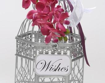 SALE 2018-Wedding Card Money Holder Unique Birdcage Cardholder, Wedding Card Birdcage, Orchid Birdcage, Flower Wedding Birdcage