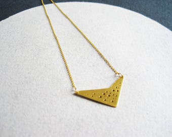 24ct gold vermeil geometric hole-patterned pendant on fine gold-filled chain