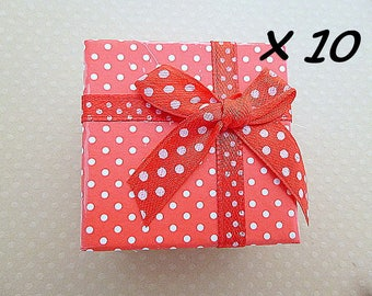Set of 10 rings boxes red 5x5x3cm