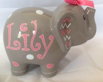 Personalized Large Gray Pink  Chevron Polka dots elephant Piggy  Bank Newborns , Birthday,Girls,Flower Girl,Baby Shower Gift Centerpiece