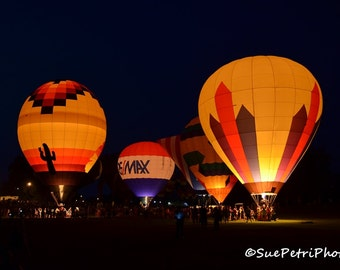 Hot Air Balloon, Night Photography, Photograph, 8x10, all sizes available, Color Photography, Home and Living, Wall Art, Primary Colors