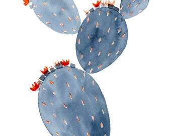 Grey Prickly Pear Archival Print // Cactus Art // Cactus Watercolor // Cactus Art Print // Nursery Art // Monochromatic Art // Minimal Art