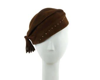 Brown Beanie Winter Hat, Beanie Hat, Womens Hat, Womens Winter Hat, Ladies Cap, Felt Hat Womens, Winter Beanies, Winter Cap, OOAK, Millinery