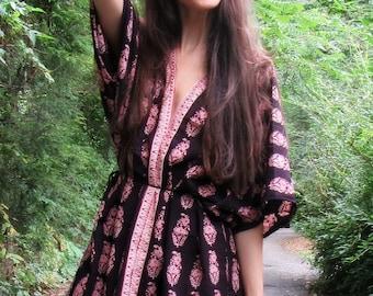 hand block indian floral cotton print kimono boho dress - bohemian chic hippie beach festival vegan gift for her One Size