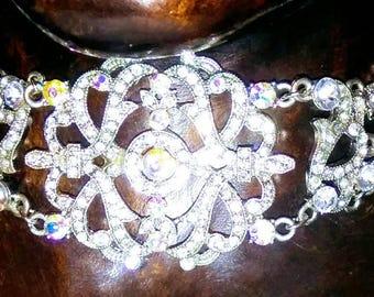 Vintage VCLM Necklace 70's-80's Stuning Ornate Silver Color Rhingtones Choker Necklace.