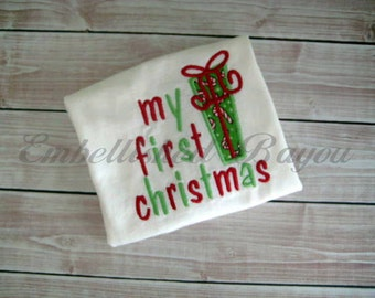 My First Christmas Onesie with Applique Gift, Present