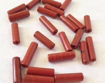 15 RED AVENTURINE TUBE Beads