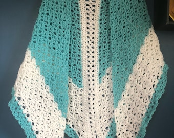 Turquoise and White Spring Shawl