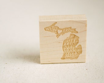 With love from Michigan / Hand lettered rubber stamp / Christmas gift for wife, best friend, roommate / scrapbooking, arts crafts, cards