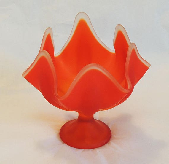 Vintage Viking Glass Orange Tangerine Petal Vase Mid Century Compote With Label