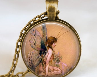 Fairy necklace , vintage fairy jewelry , fairy pendant ,  fairy with wings necklace, whimsical jewelry, handmade jewelry,picture art pendant