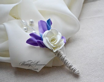 Purple and blue boutonniere, Wedding boutonniere, Pearl buttonhole, foam boutonniere.