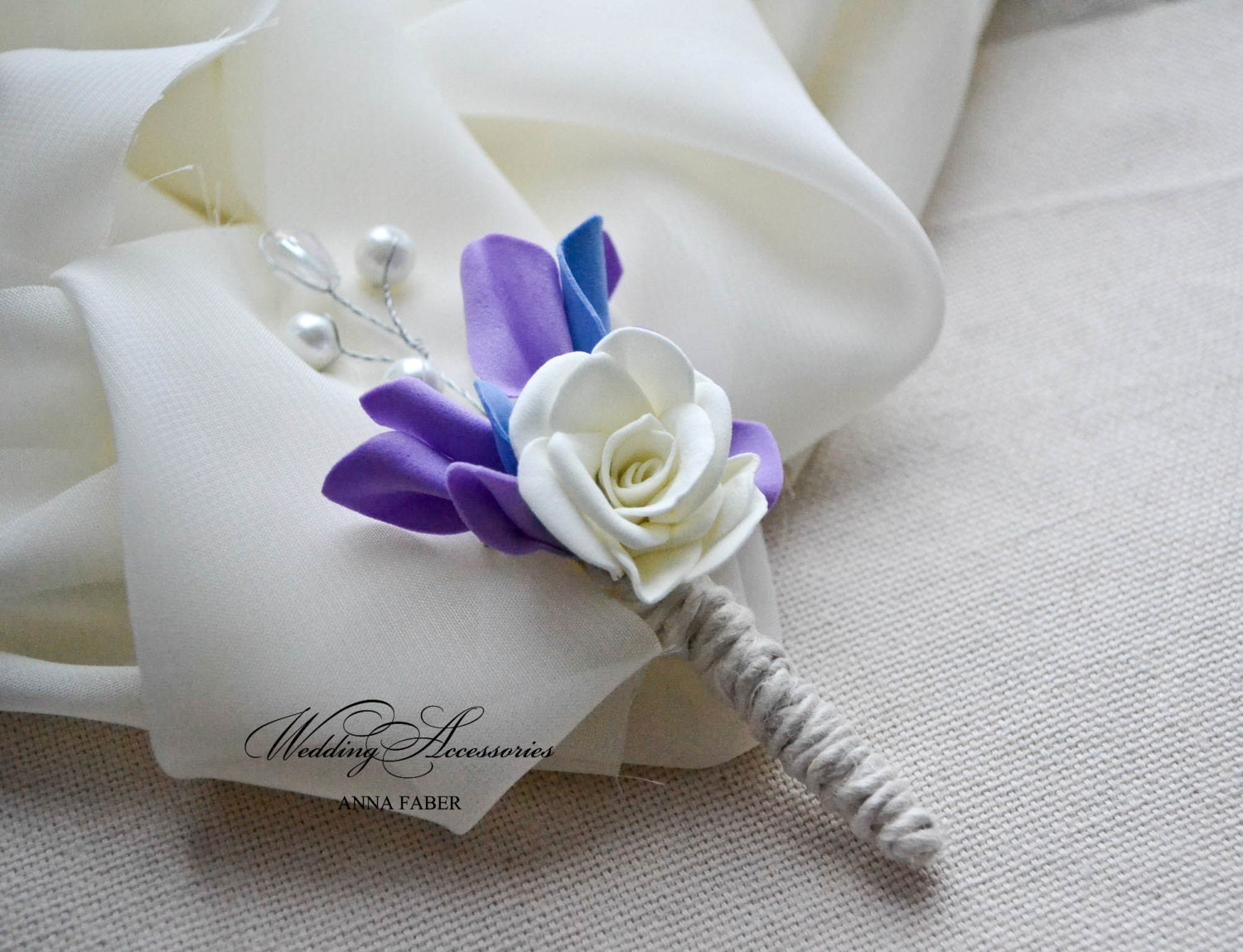Purple and blue boutonniere Wedding boutonniere Pearl