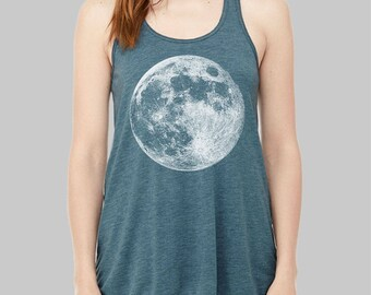 Moon Tank Top - Graphic Tank, Graphic Tanks For Women, Racerback Tank,  Bella Flowy Tank Top, Full Moon