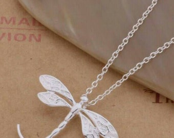 Dragonfly Sterling Silver Pendant Necklace