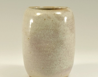 White Pottery Vase, Altered, by Fire Garden Pottery. Shino glaze with Matte Cream glaze.