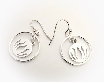 Sterling Silver Lotus Charm Hoops