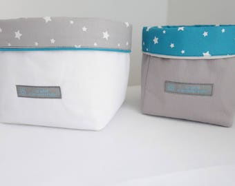 Set of 2 baskets starry night Collection Turquoise