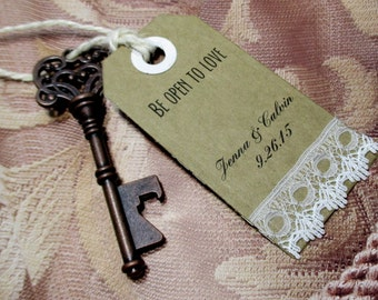 Key Bottle Opener - Wedding Favor - Set of 10 - Skeleton Key - Lace - Personalized - Custom - Unique - Vintage inspired - Key Ring
