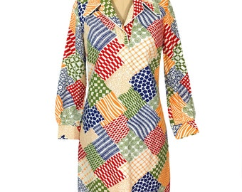 vintage 1970's rainbow patch dress / multi-print multi-pattern novelty print / cotton / collared dress / women's vintage dress / size large