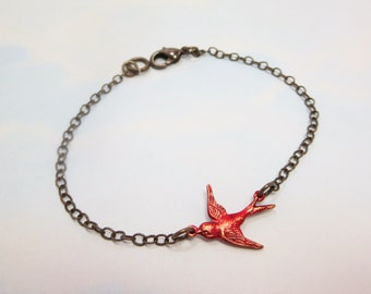 Red Bird Bracelet Flying Sparrow Redbird Cardinal Jewelry Gift