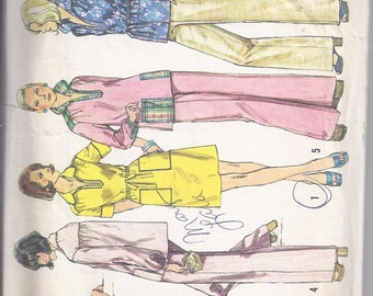Vintage Simplicity Sewing Pattern 6230 from 1974:  Short Dress or Top and Pants.  Bust 34