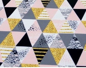 Pink and gray coupon triangles waterproof fabric