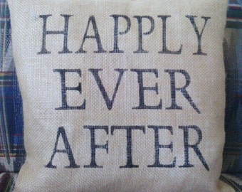 """Happily Ever After Burlap Stuffed Pillow 14"""" x 14"""""""