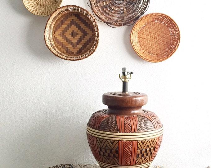 large mid century tribal style composite lamp / boho decor