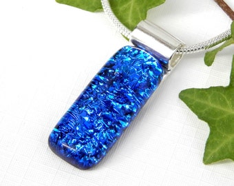 Cobalt Blue Intense Sparkle Dichroic Glass Pendant, Fused Glass Jewelry, Blue Art Glass Necklace