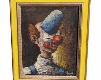 Mid Century Clown Oil Painting signed Luca
